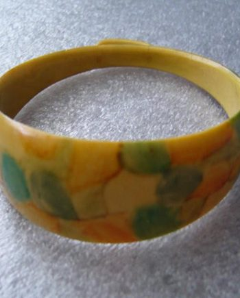 Vintage hand painted dots celluloid bracelet bangle