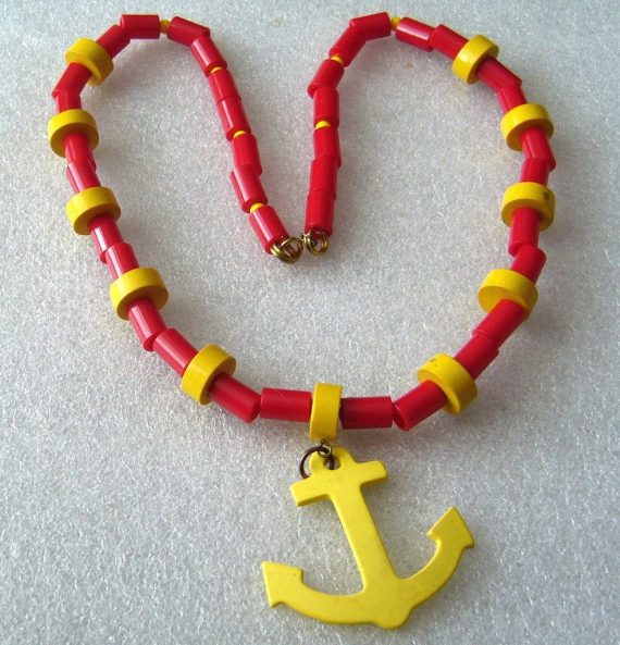 Vintage early plastic nautical anchor necklace
