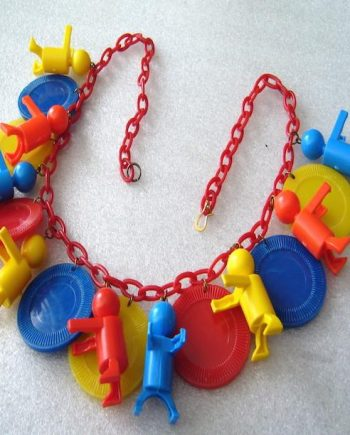 Vintage styleearly plastic red blue yellow Little People charmsnecklace