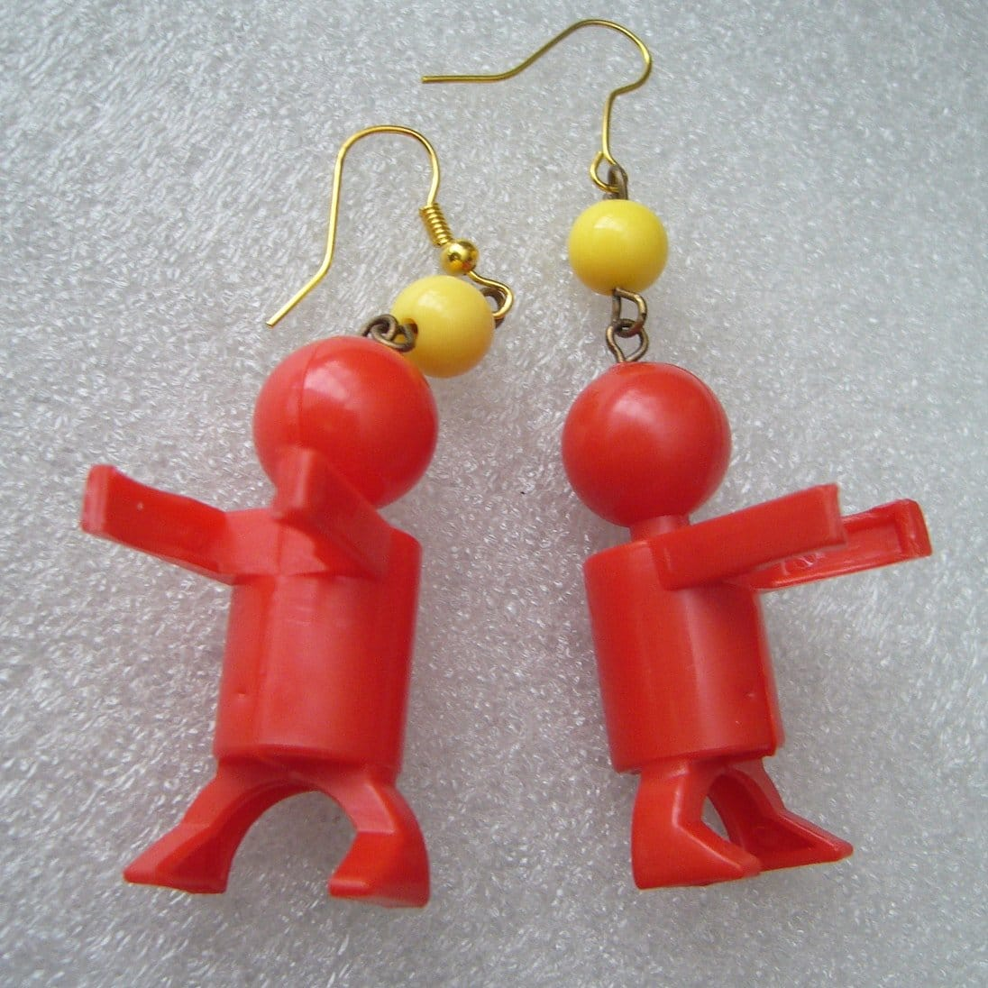 Vintage style early plastic red Little People charms earrings