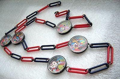 Vintage early plastic toys puzzles funny chain necklace pop art