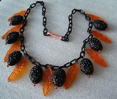 Vintage lucite early plastic berries & leaves necklace