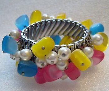 Vintage metal & early plastic stretch bangle bracelet
