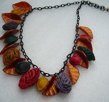 Vintage autumn celluloid leaves & painted fruits kernels necklace