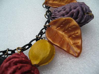 Vintage autumn celluloid leaves & painted fruits kernels necklace