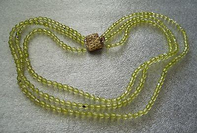 Vintage early plastic multi strand tiny light green beads necklace