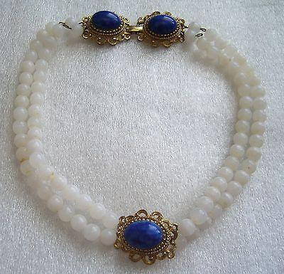 Vintage '50ies - '60ies white & cobalt blue glass unusual choker / necklace