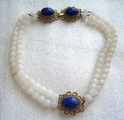 Vintage '50ies - '60ies white & cobalt blue glass unusual choker / necklace