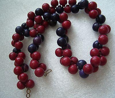 Vintage art deco red & purple early plastic necklace