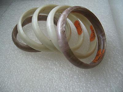 Vintage plastic swirl bangles bracelets with Israeli label - lot of 5