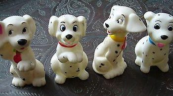 Vintage mid-century early plastic rubber 101 Disney Dalmatian dogs squeeze toys