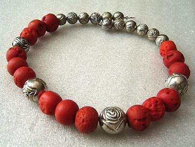Vintage maybe coral  and silver color beads ethnic necklace