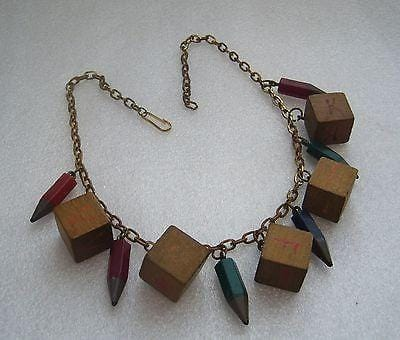 Rare school days vintage art deco bakelite and wood necklace - bakelite era