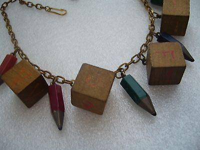 Rare school days vintage art deco bakelite and wood necklace - bakelite era