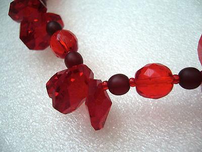 Vintage sparkling red glass crystals necklace