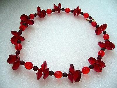 Vintage sparkling red glass crystals necklace