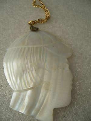 Vintage mother of pearl huge detailed boy face pendant necklace