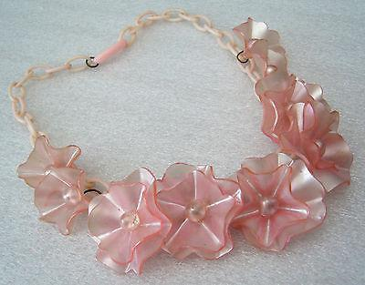 Vintage delicate celluloid flowers roses chain necklace