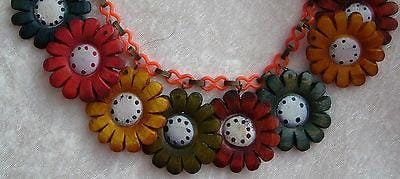 Vintage 1940's celluloid & painted wood flowers necklace - bakelite era