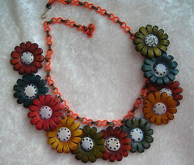 Vintage 1940's celluloid & painted wood flowers necklace - bakelite era