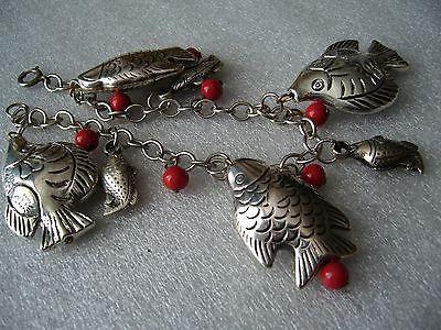 Vintage glass & silver-tone metal fish bracelet