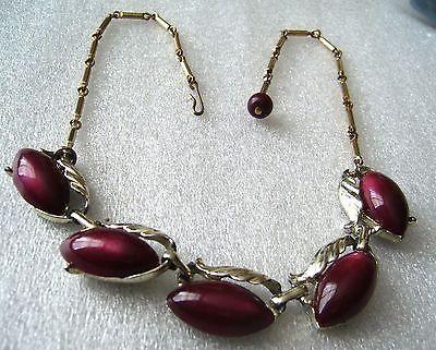Vintage thermoset plastic plum 1950's necklace