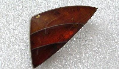 Vintage silver and amber ? signed pin / brooch