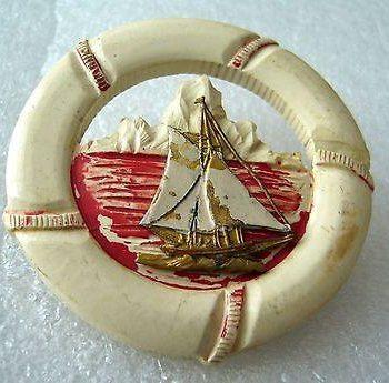 Vintage early plastic nautical pin /  brooch - boat & float - bakelite era
