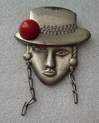 Vintage stylized face with hat early plastic & metal pin / brooch