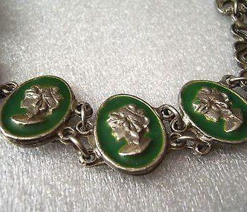 Vintage cameos silver tone necklace