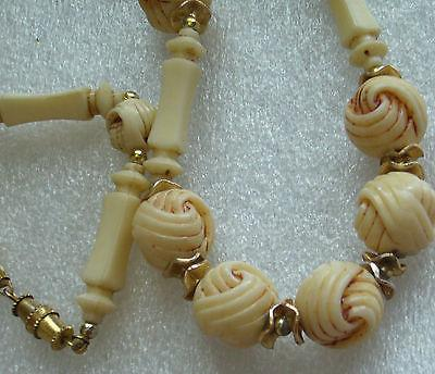 Vintage molded off-white early plastic or celluloid necklace