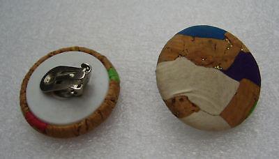 Vintage cork earrings clip-on #3