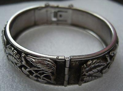 Vintage silver tone clamper bracelet bangle 1970s leaves and cherries