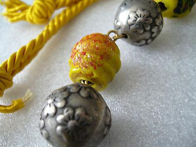 Vintage hand made glass and metal old necklace