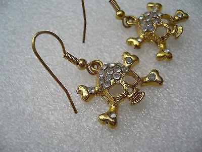Vintage rhinestones skulls earrings