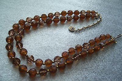 Vintage  2 strands multi shape brownish 1950s plastic necklace signed Lisner