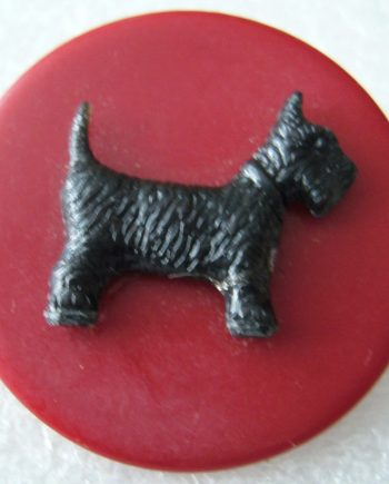 Vintage early plastic scotty dog pin brooch - bakelite style