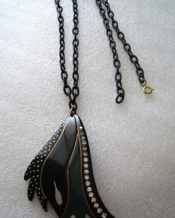 Vintage French black early plastic rhinestones lightweight pendant necklace