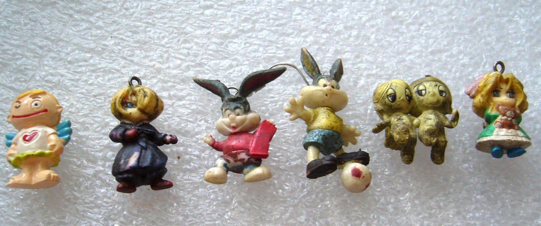 Vintage different Little figurines charms  - bunnies, children, whitch