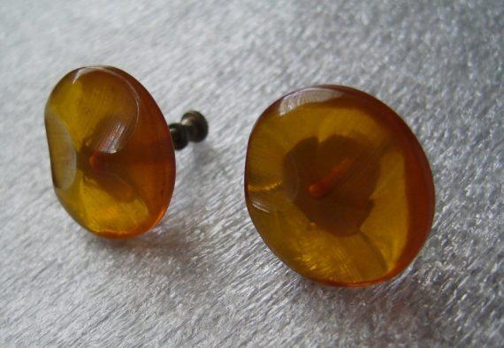 Vintage amber early plastic screw earrings