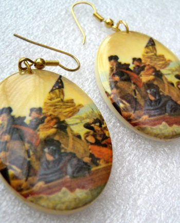Vintage printed plastic large earrings