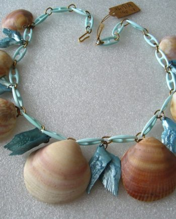Vintage celluloid  & real shells light blue necklace