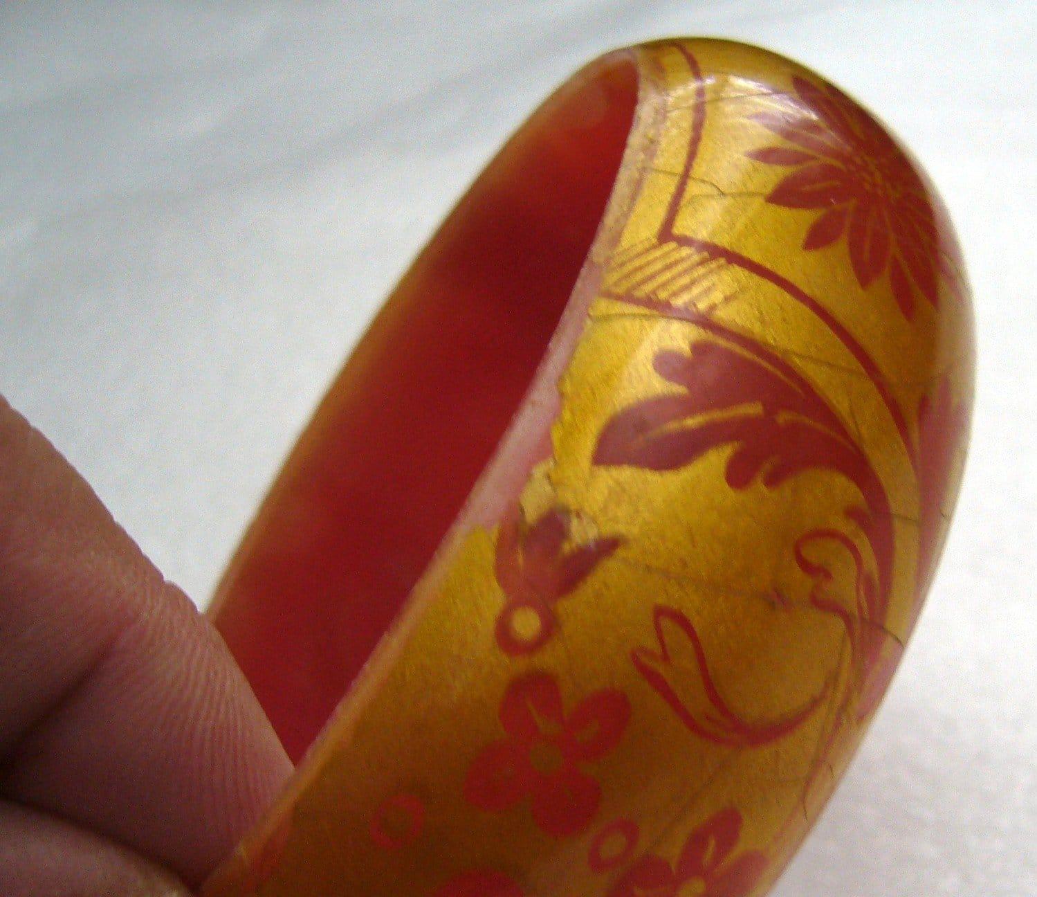 Vintage orange printed plastic bangle