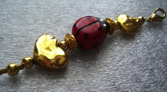 Vintage lady bug and hearts key chain