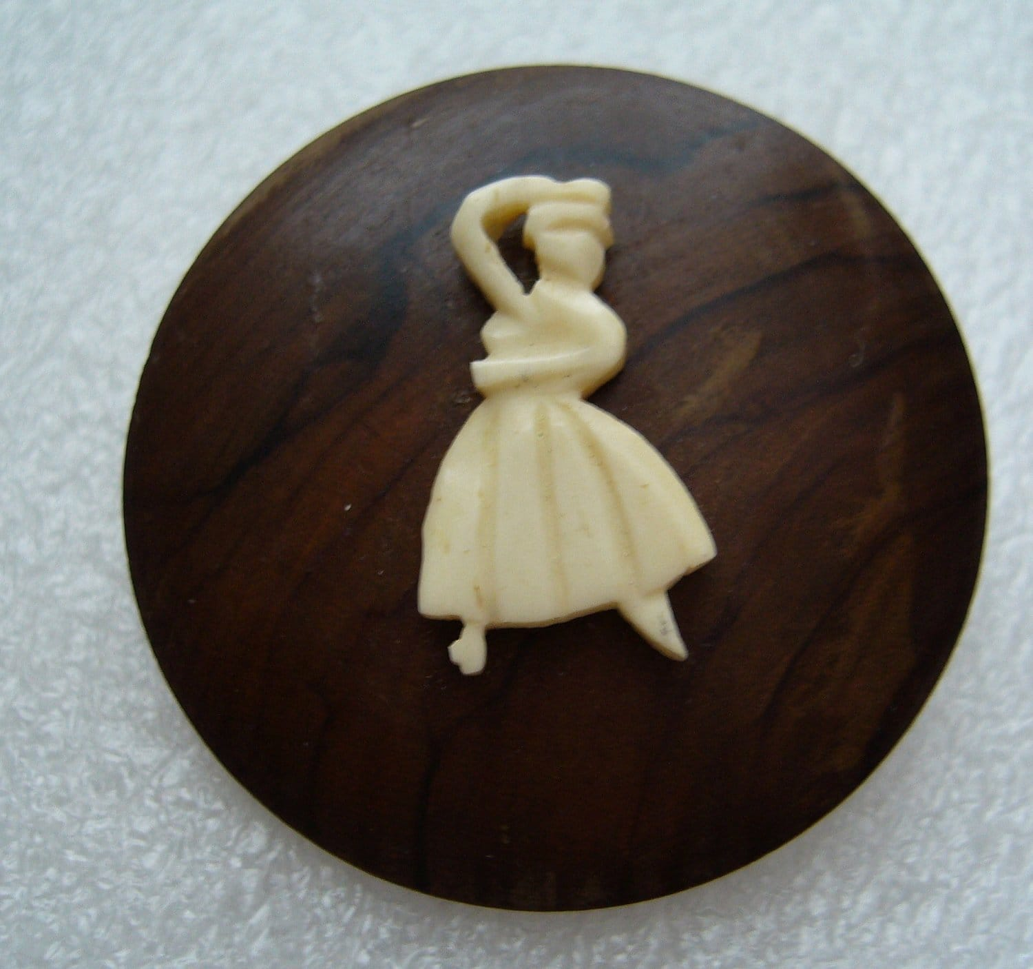 Vintage Israeli olive wood & celluloid ballerina dancer brooch