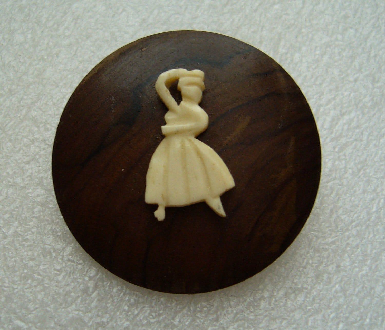 Vintage Israeli olive wood & celluloid ballerina dancer brooch