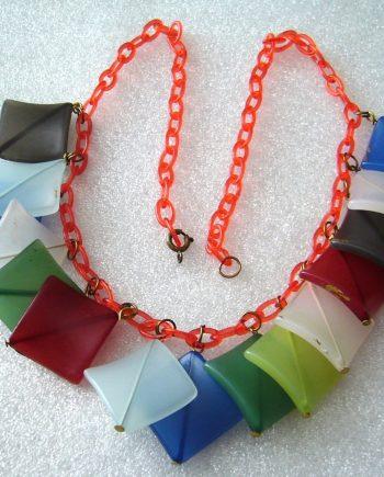 Vintage celluloid early plastic festoon necklace - bakelite style