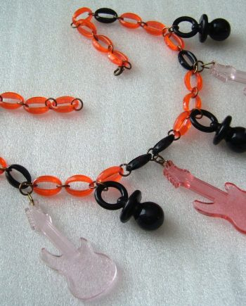 Vintage early plastic lucite guitars chain necklace