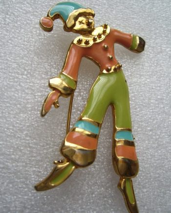 Vintage 1950's enamel clown pin brooch no. 2