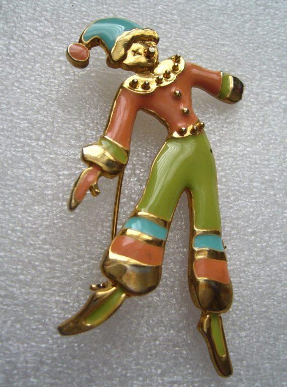 Vintage 1950's enamel clown pin brooch no. 2